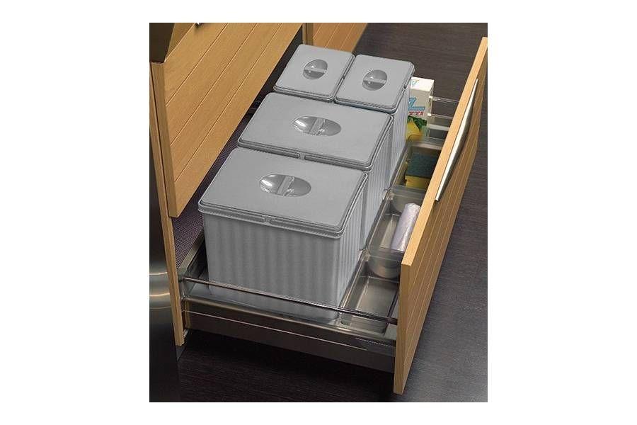 Collecteur Sous Evier 3 Bacs Pour Meuble De 600 Mm Avec Ouverture Automatique Des Couvercles Accessoires Cuisine Poubelle Grands Tiroirs