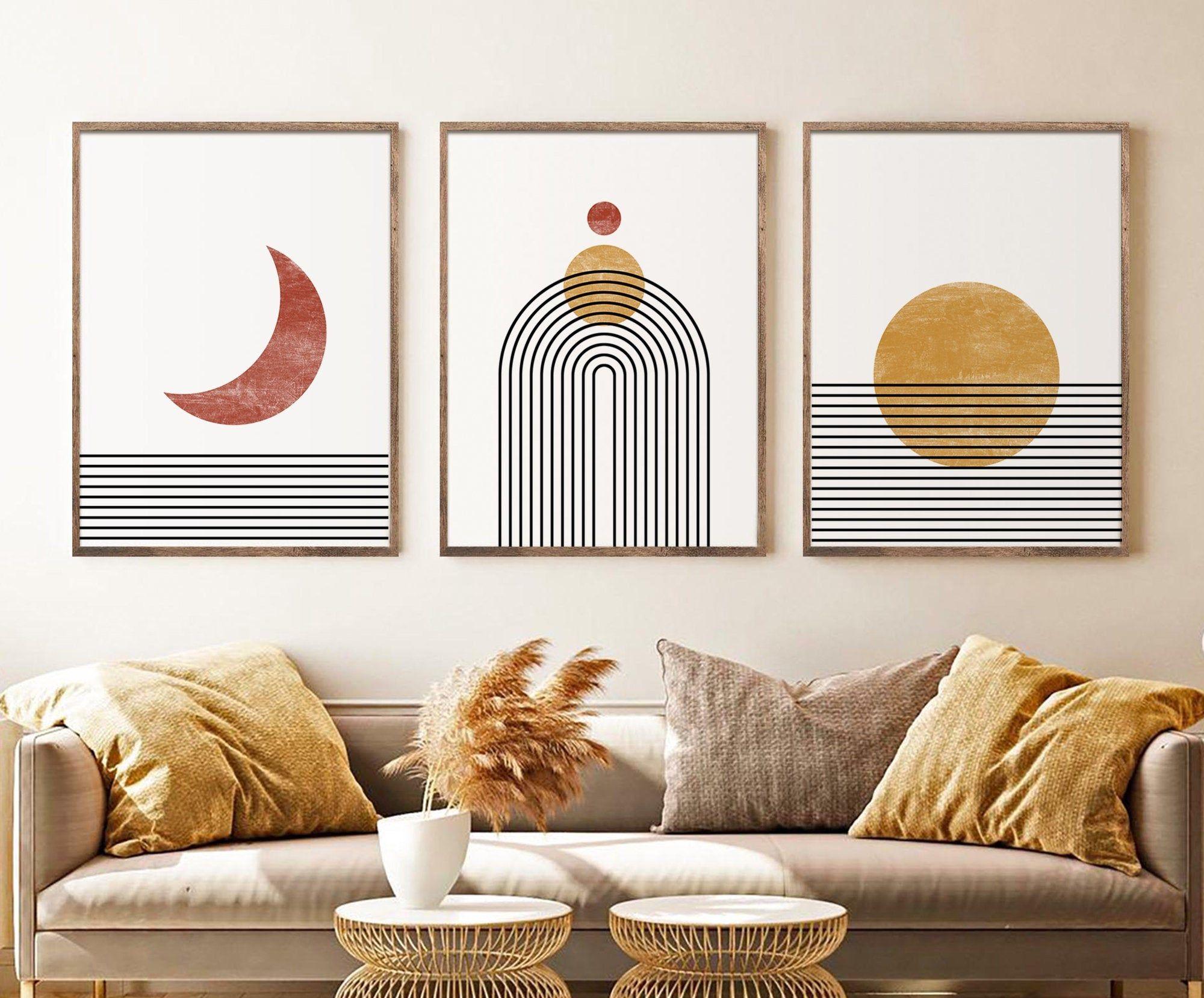 Mid Century Modern Sun Moon Print Set Of 3 Prints Digital Etsy Mid Century Modern Wall Decor Mid Century Modern Artwork Wall Art Sets