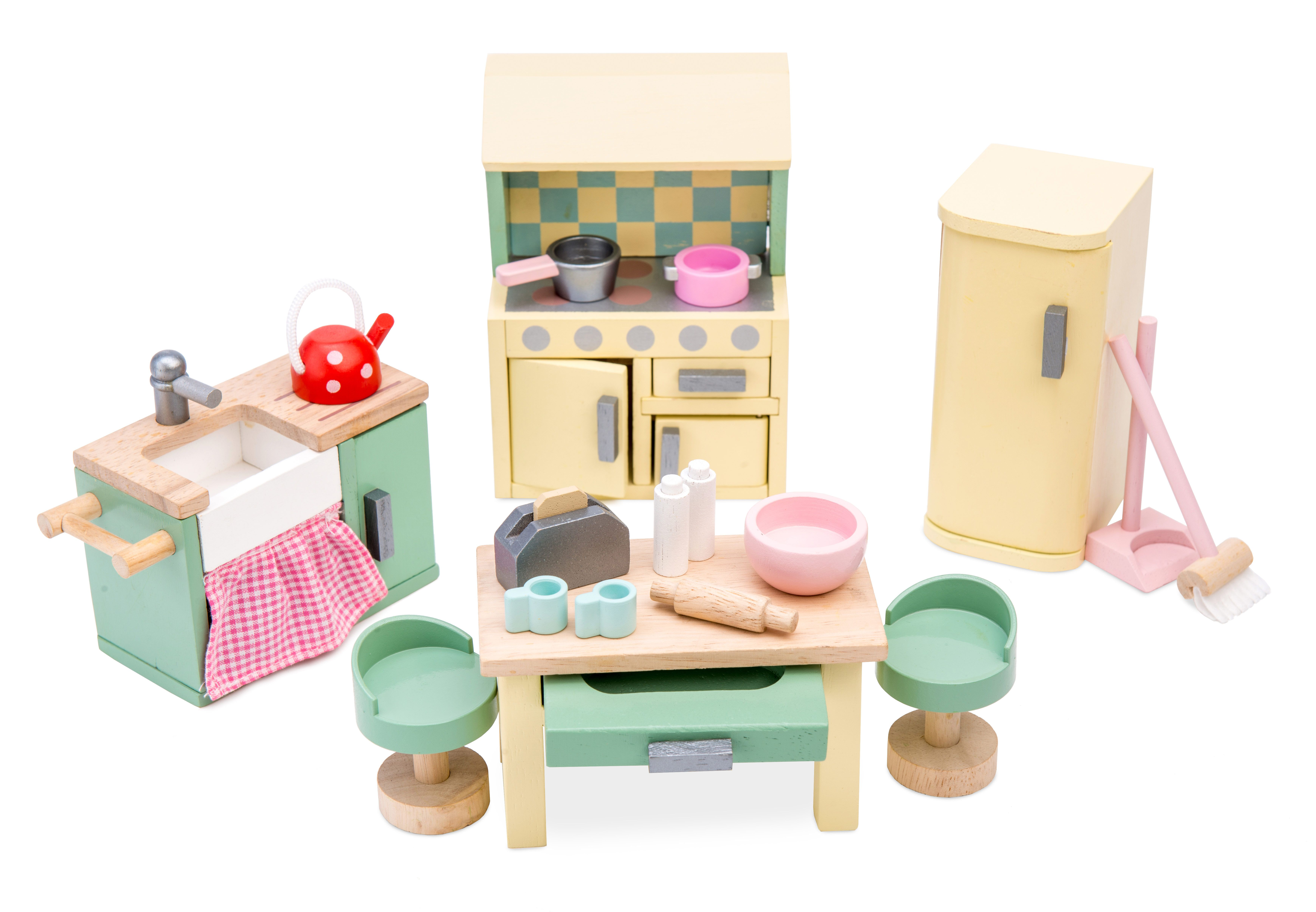 A Painted Wooden Furniture Set By Le Toy Van Daisylane Dollshouse Furniture Kitchen Cooker Toys Wooden To Furniture Wooden Dollhouse Kids Wooden Toys