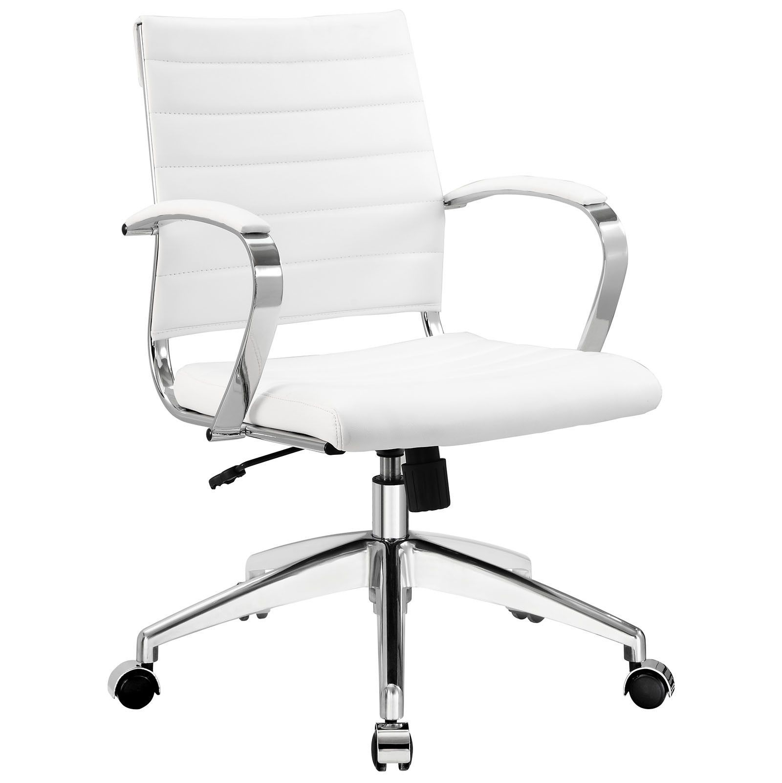 White office chair back - Jive Mid Back Modern Office Chair White