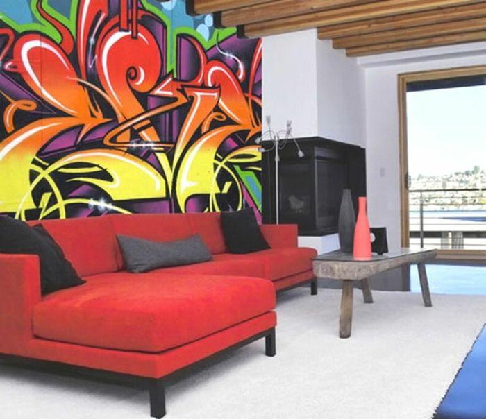 Wohnzimmer Attraktive Dekoration Graffiti Kreative Idee