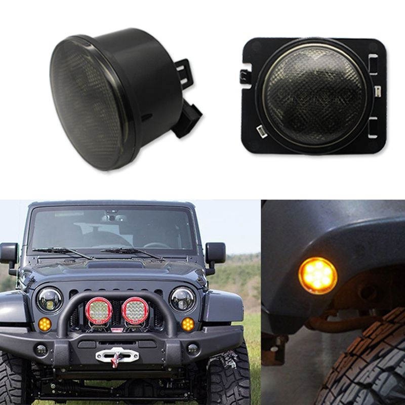 Combo For 2007 2015 Jeep Wrangler Jk Smoke Lens Amber Led Front
