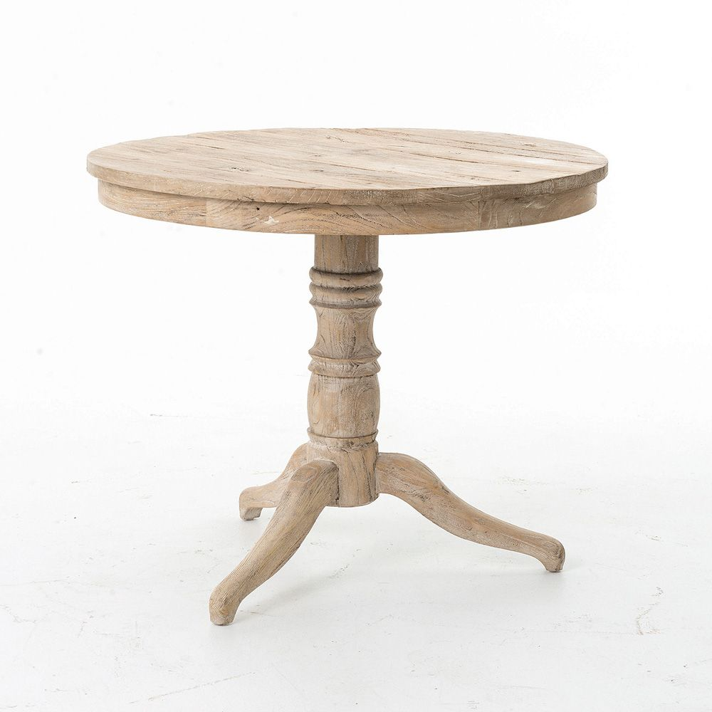 Four Hands Hughes Whitewash Round Occasional Table Dining Table