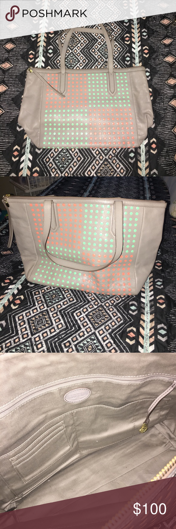 Adorable pink and teal Fossil purse In perfect condition and unique color and design. Really goes great with anything. Fossil Bags