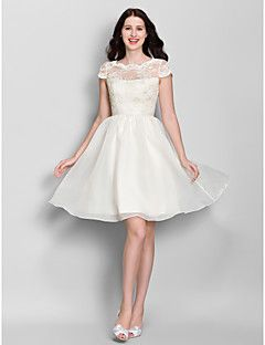 55a2500d4 Vestido de Dama de Honor - Marfil Corte A Escote A la Base - Hasta la Rodilla  Encaje   Organza