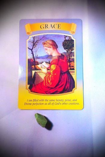 """4/10/14 Today's reading is from Doreen Virtue's Mary, Queen of Angels deck and is the """"Grace"""" card. So often we appreciate the beauty in others while neglecting to notice the same traits in ourselves. This card reminds you that you are filled with beauty and grace! Chrysoprase will complement and enhance the energy of this card"""