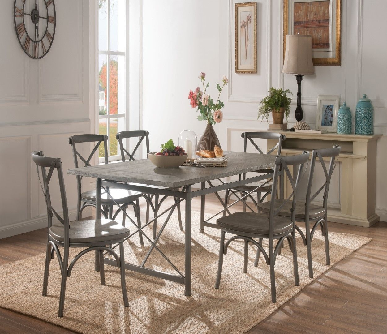 Acme 60120 Kaelyn Ii Gray Metal And Wood Finish 7 Piece Dining