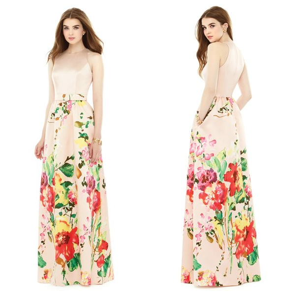 Alfred Sung Watercolor Floral Print Sleeveless Sateen A-Line Gown ...