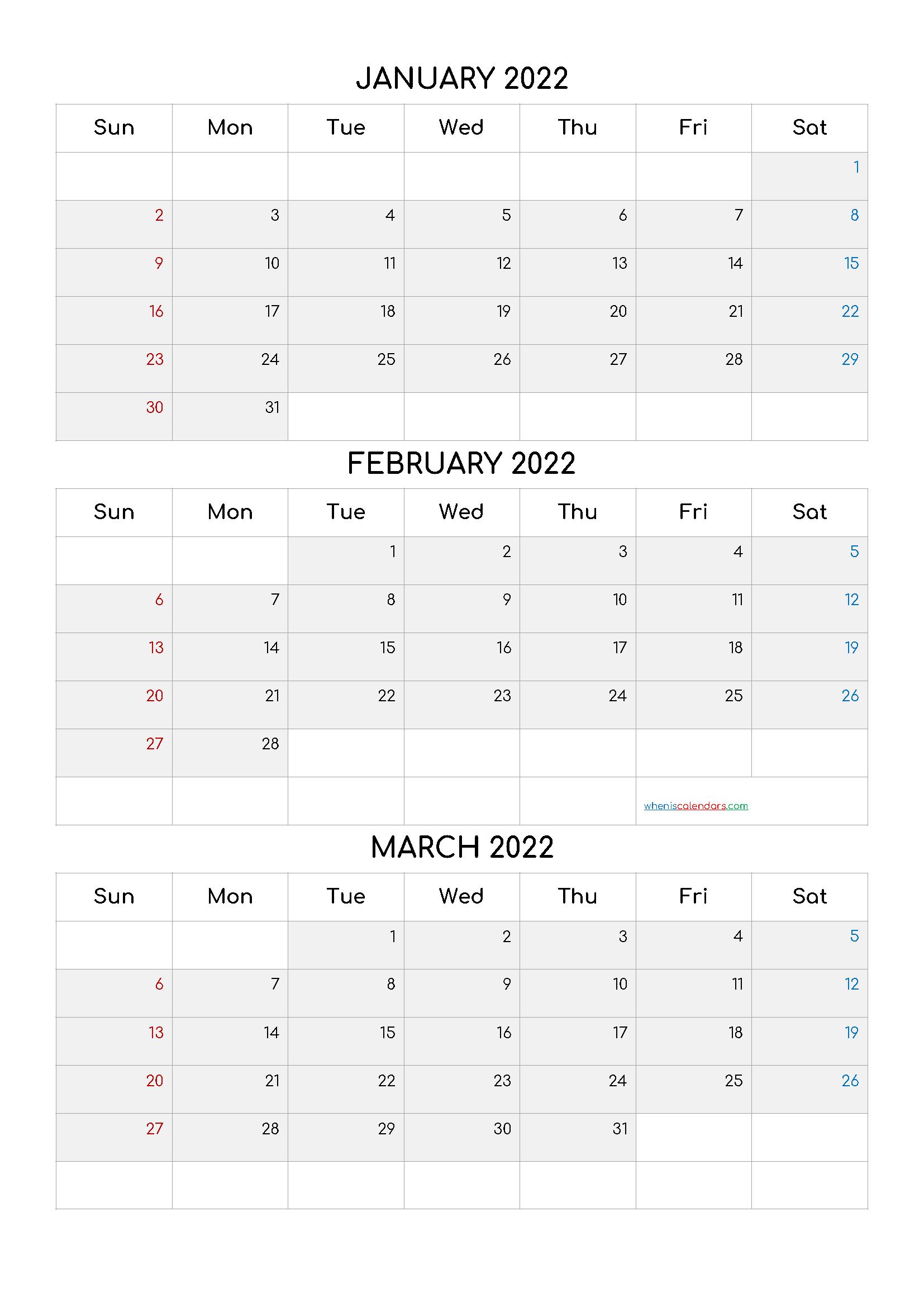 Free January February March 2022 Calendar Q1 Q2 Q3 Q4 In 2020 Calendar Printables Printable Calendar July January February March