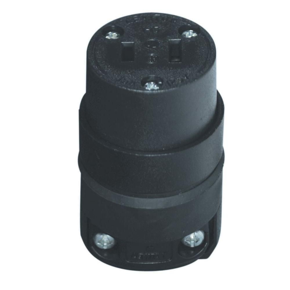 15 Amp Polarized Rubber Round Connector, Black