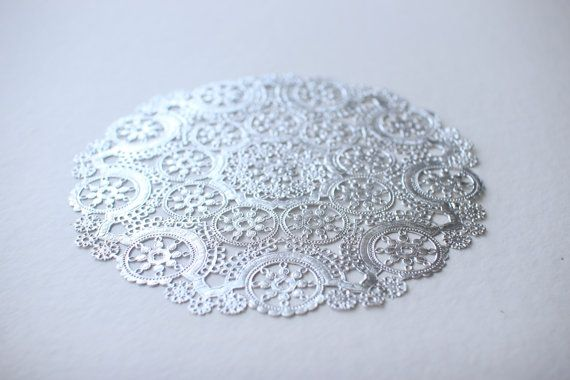 Metallic Silver Doilies Sample Pack Includes 12 10 8 6 4 Foil Lace Paper Use For Placemats Invitations Onieres Favors