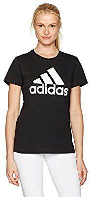 9ad1439bf1215 Amazon.com: adidas Women's Badge of Sport Logo Tee, Black/White ...