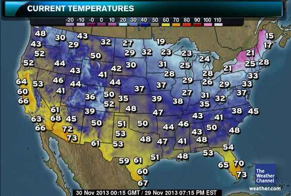 US Current Temperatures Weather Wise Temperature Humidity