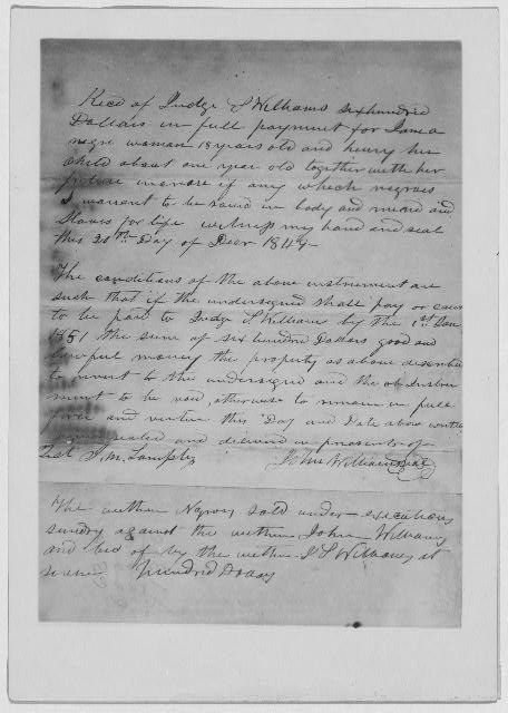 A receipt for sale of Jane, age 18, and her son, Henry, age 1 and all future children, December 20, 1849.