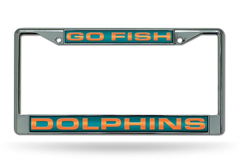 Miami Dolphins Go Fish Laser Etched Chrome License Plate Frame