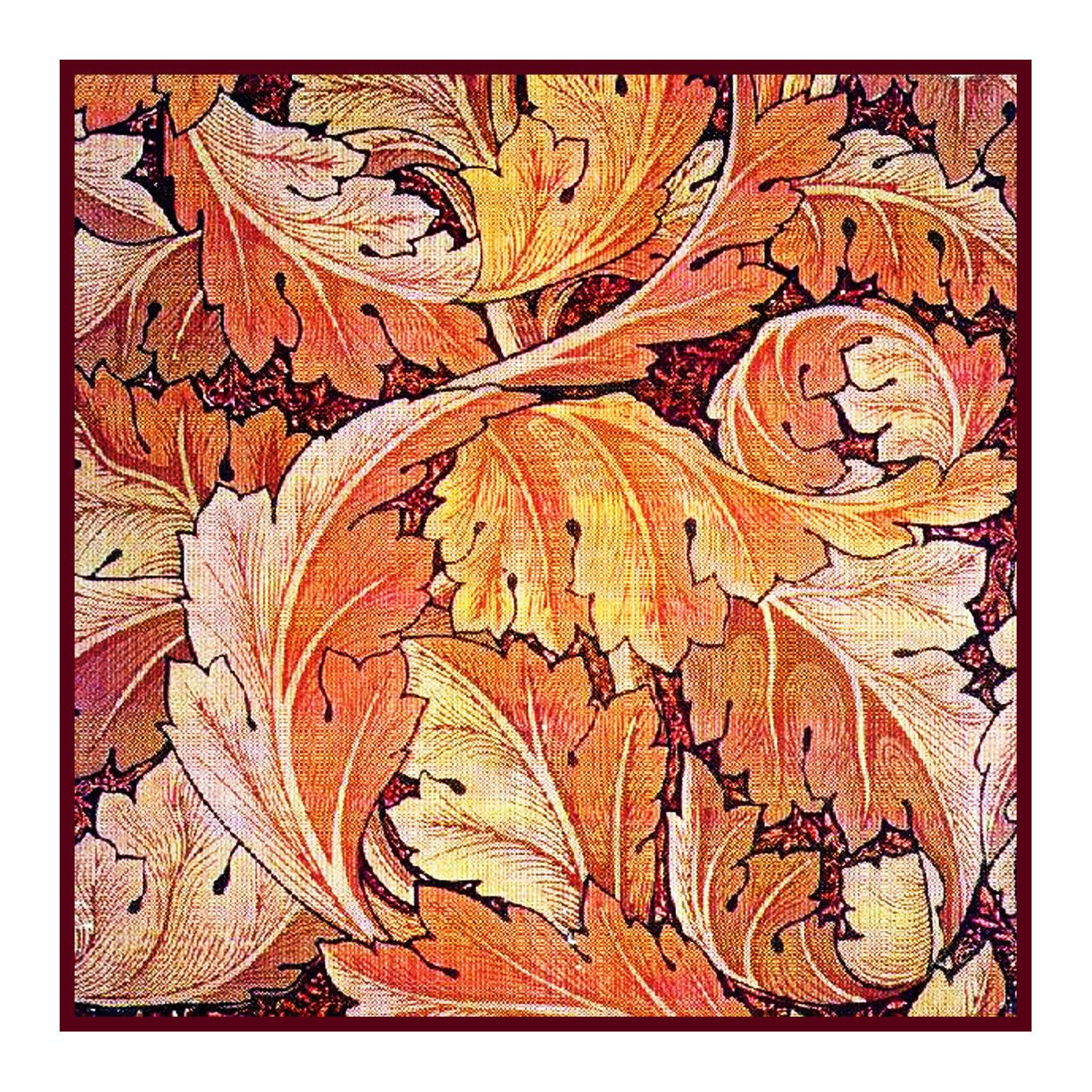 Orenco Originals William Morris Acanthus Leaves Owl Counted Cross Stitch Pattern