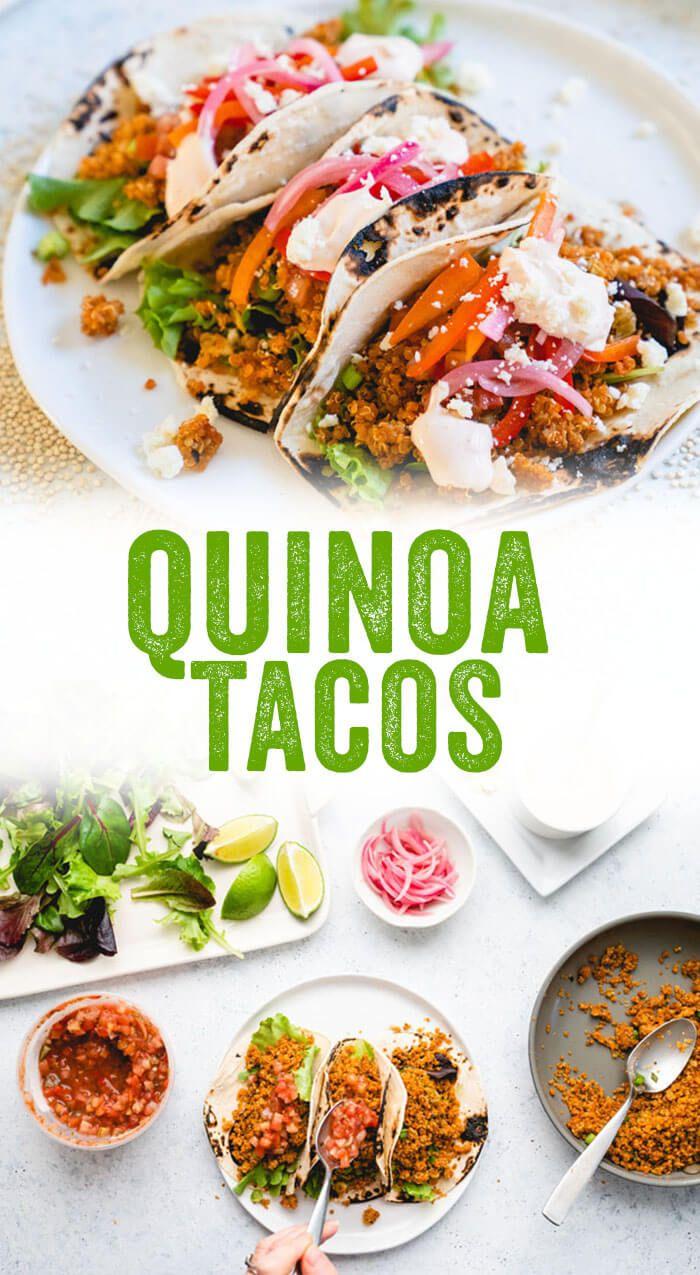 These loaded quinoa tacos are a delicious vegetarian taco recipe, featuring quinoa taco filling, bell pepper slaw, spicy sour cream, and feta! #quinoa #tacos #recipe #healthy #mealprep #vegetarian #vegan #glutenfree #yum #delicious