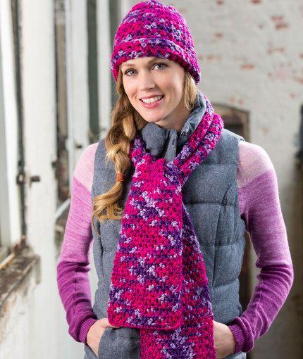 Woven Stitch Hat amp Scarf Free Crochet Pattern Red Heart