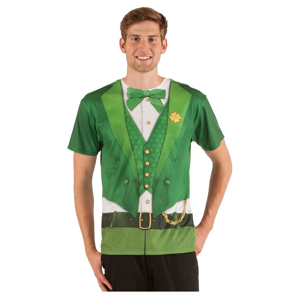 St. Patrick's Day Men's Leprechaun Short Sleeve Suit Costume Tee - Small, Green
