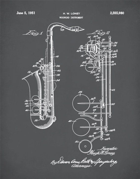 Saxophone Patent, Saxophone Print, Saxophone Poster, Patent