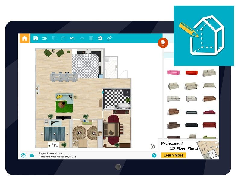 Big News Roomsketcher Home Designer For Android Tablet Is Here Now It S Even Easier To Work On Y Online Home Design House Plan App Best Interior Design Apps