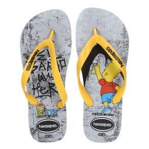f568908adc7d Chinelo Masculino Havaianas Simpsons Cinza amarelo