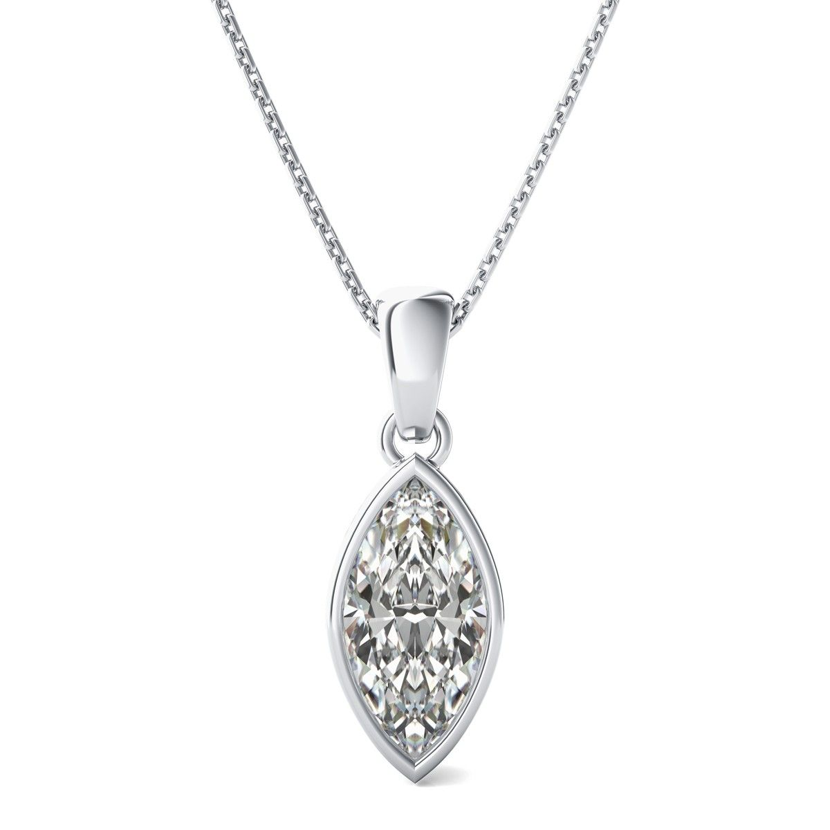 Bezel set solitaire pendant with marquise cut diamond by bezel set solitaire pendant with marquise cut diamond mozeypictures Image collections