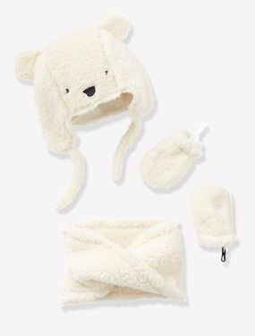 Chapka + snood + moufles bébé fille façon peluche - vertbaudet enfant 82364f0d724