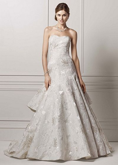 Floral Jacquard Trumpet Gown with Tiered Back CWG634 David's Bridal