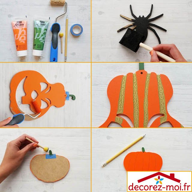 diy tuto d co citrouilles halloween formes en bois. Black Bedroom Furniture Sets. Home Design Ideas