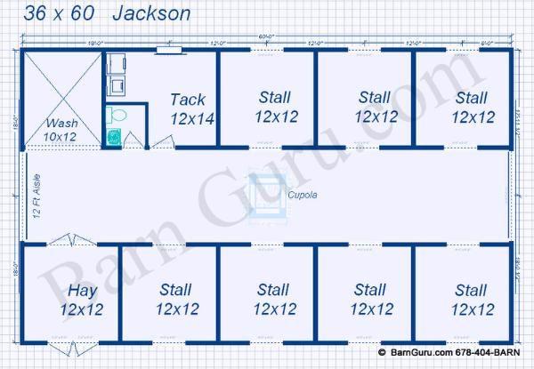Floor Plan Horse Barn 7 Stalls Bath Horse Barn Plans Barn Plans Horse Barn Designs