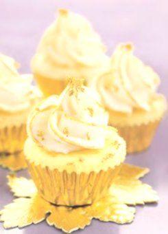 Brides: Demi Sweet. A 24-Carat Idea� Vanilla cupcakes with edible gold leaf ma... -