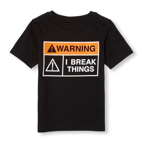 a60bdeeb s Toddler Boys Short Sleeve 'Warning I Break Things' Sign Graphic Tee - Black  T-Shirt - The Children's Place