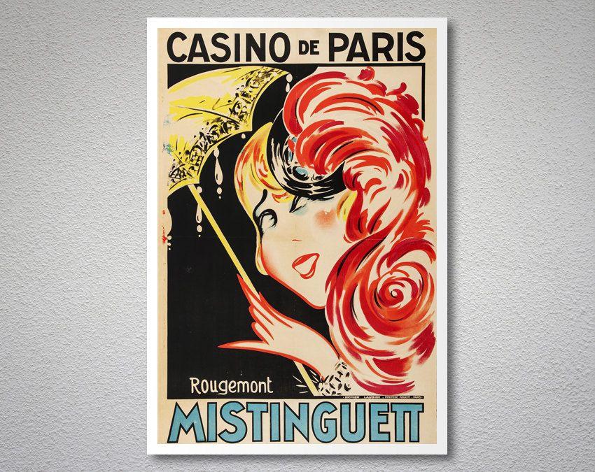 MISTINGUETT CASINO DE PARIS FRENCH ACTRESS SINGER BIG HAT VINTAGE POSTER REPRO