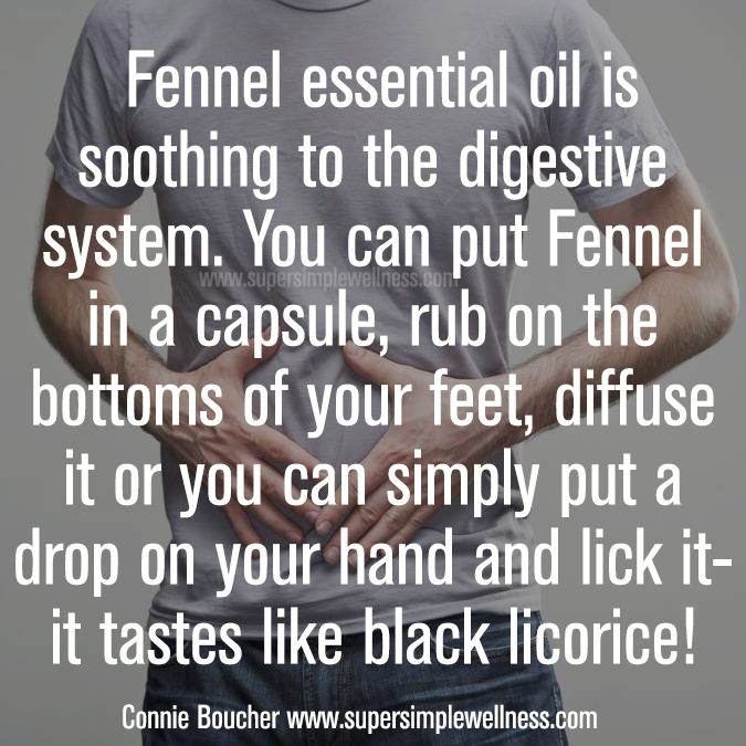 #Fennel #essentialoil is #soothing to the #digestive system. You can put Fennel in a #capsule, rub on the bottoms of your #feet, #diffuse it or you can simply put a drop on your hand and lick it- it tastes like #blacklicorice! #natural #allnatural #naturalsolution #digestion #digestivesystem #diffusing #diffuseessentialoil #EO #EOlove #essentialoils #ConnieBoucher #SuperSimpleWellness #health #chakra #wellness