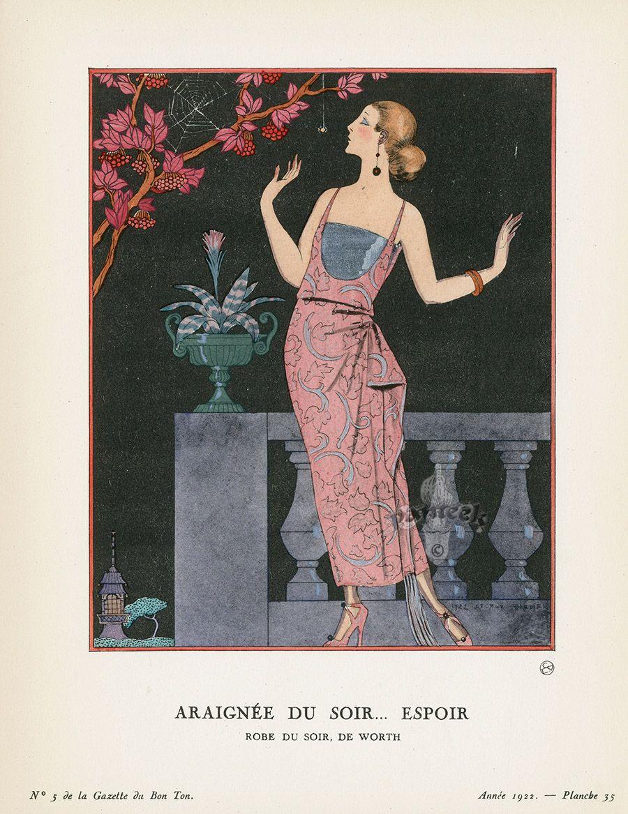 Araignee Du Soir Espoir By George Barbier From Original Bon Ton Gazette Prints By George Barbier 1912 1925 Art Deco Paintings Art Deco Illustration Art