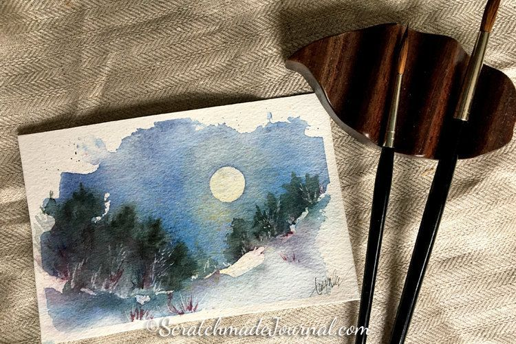 Nighttime Landscape Watercolor Tutorial Arbres En Aquarelle