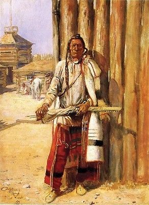WESTERN ART POSTER Indian Portrait Charles M Russell