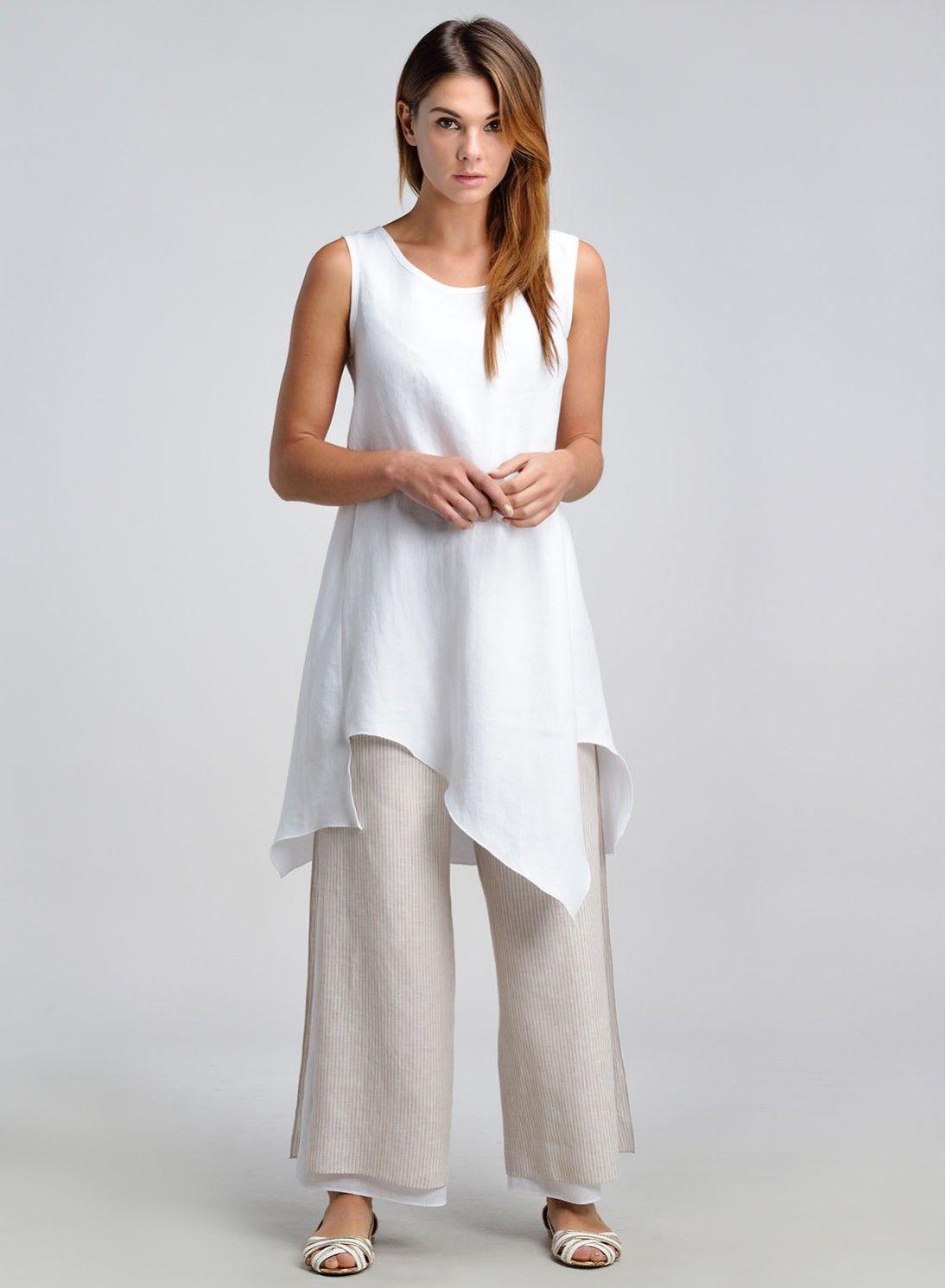 Linen Asymmetric Hem Sleeveless Tunic