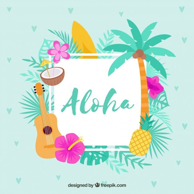 Download Flat Design Blue Aloha Background For Free Party Design Poster Aloha Logo Online Shop