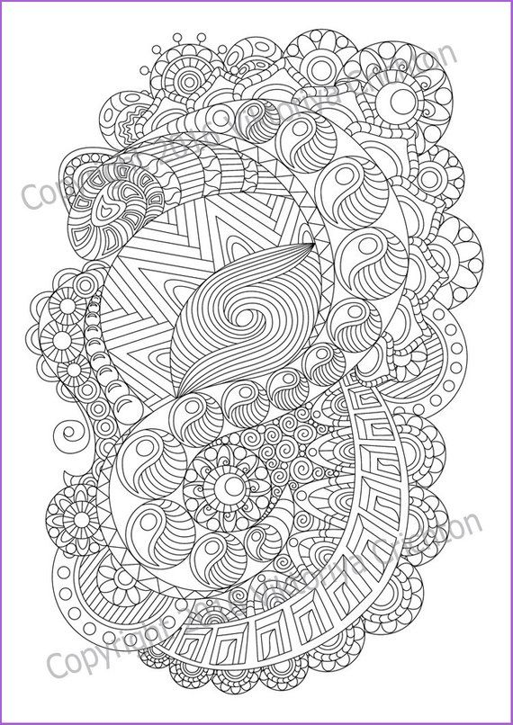 Coloring Page Zentangle For Adult Printable Zentangle Etsy Coloring Pages Mandala Coloring Pages Zentangle Patterns