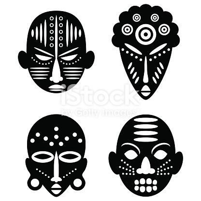 African Masks Isolated on White  Vector icons for tribal designs is part of African Masks Isolated On White Vector Icons For Tribal Designs - African Masks Isolated on White  Vector icons for tribal designs