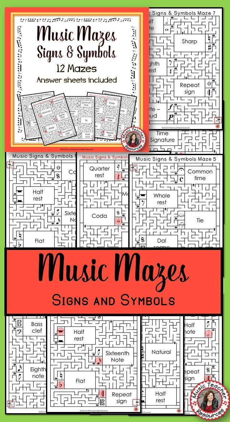 Music Games 12 Signs And Symbols Mazes Music Puzzles Music