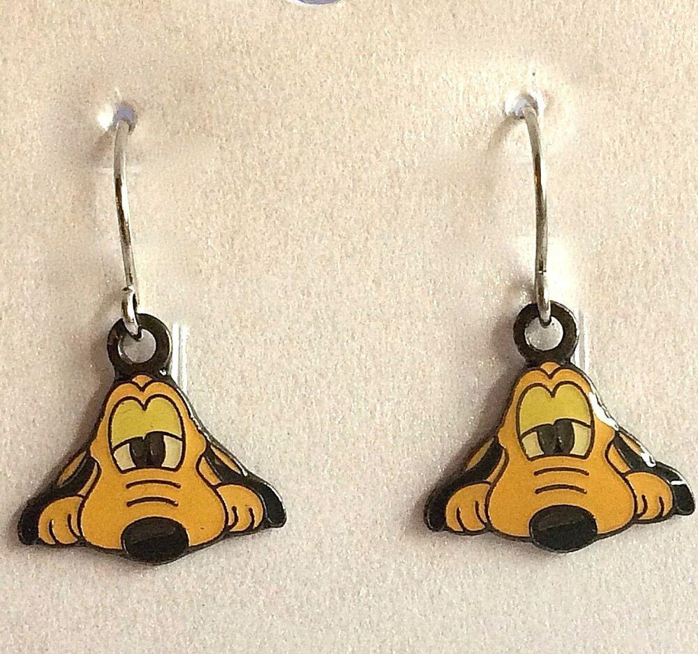 Mickey Mouse enamel charm handmade earrings silver earwires hooks