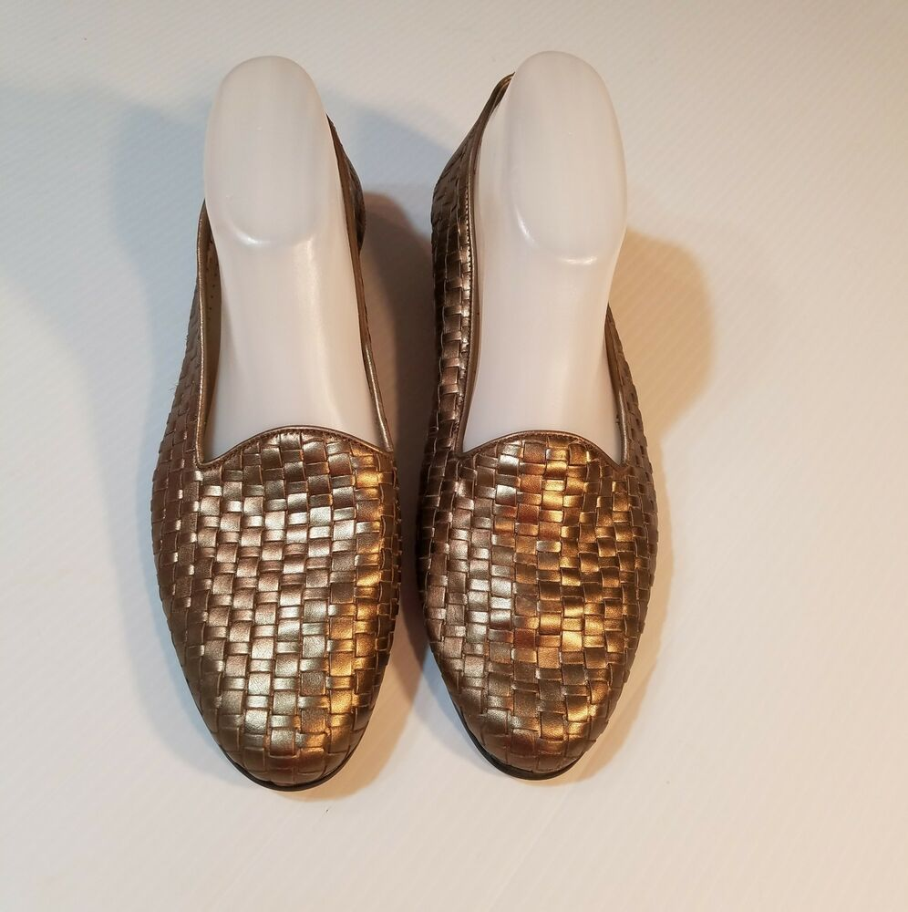 b92a4bbb5f0 Trotters Womens Liz Gold Leather Woven Slip On Loafers Flats Size 11M  Brazil  Trotters  Loafers  WeartoWork