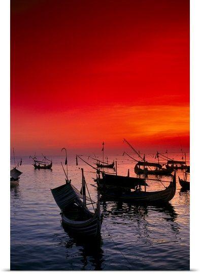 Indonesia, Bali, Jimbaran Bay With Many Fishing Boats Anchored