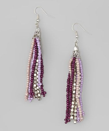 Purple Beaded Tassel Earrings by Majestic on #zulily