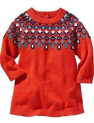 Old Navy Baby Girls Fair Isle Sweater Dress Red   Sugar Cloud Shop ...