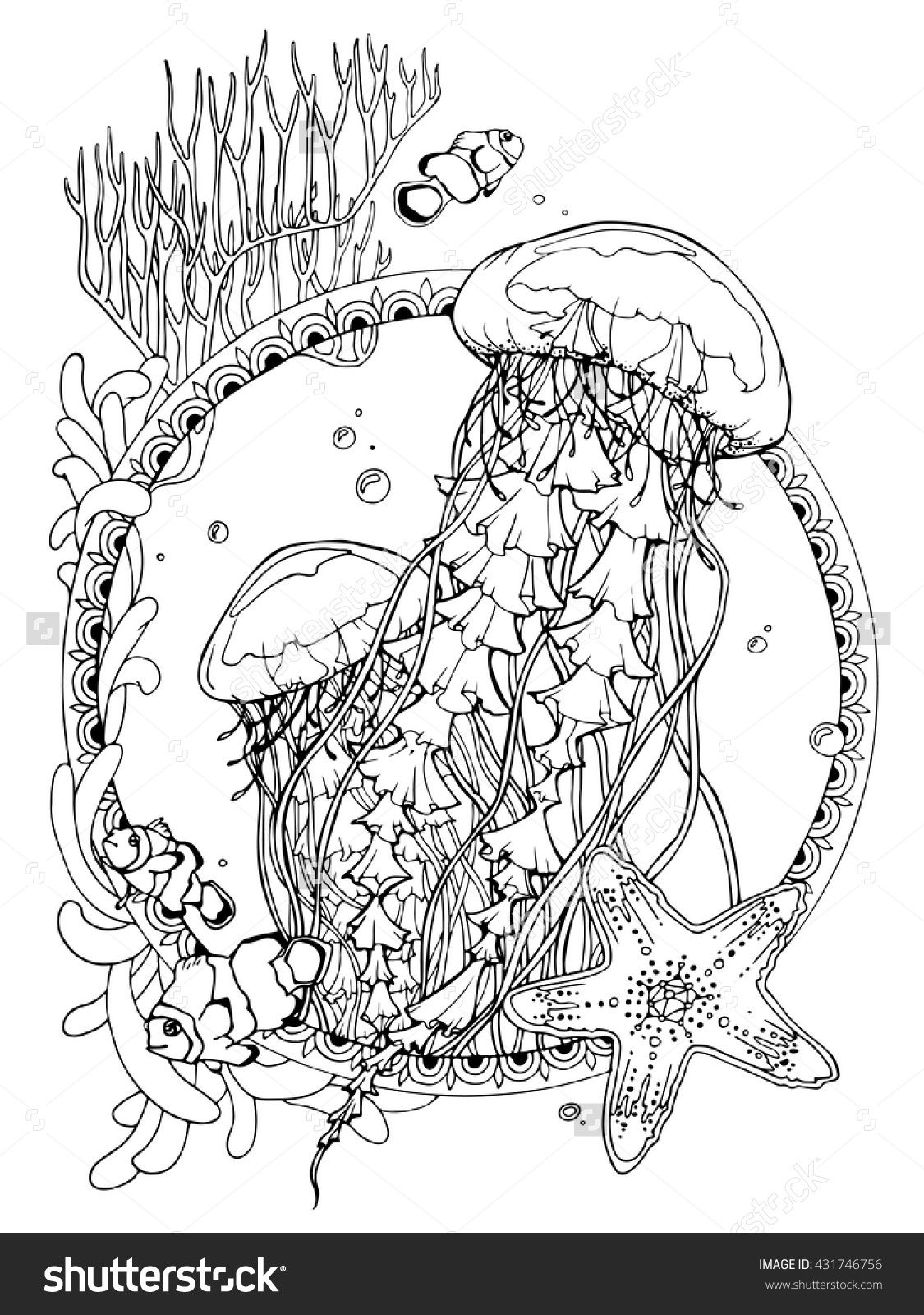 Coloring Page For Adults Antistress Drawing Ocean Life Jellyfishes Coloring Pages Ocean Coloring Pages Drawings
