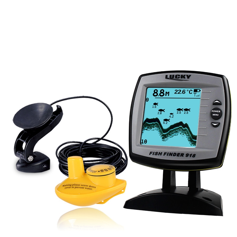 124.12$  Watch now - http://alip5s.worldwells.pw/go.php?t=32790447296 - Lucky Brand Fish Finder 2 in 1 Wired 100M and 45M Wireless Boat Fish Finder Fishing Sensor Sonar Carp Fishing FF918-100W 124.12$